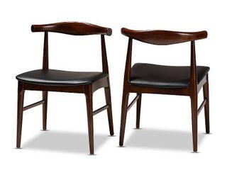 Set of 2 Eira Faux leather Walnut Finished Wood Dining Chair Black   Baxton Studio