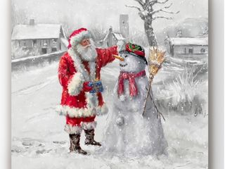 Festive Frosty   Gallery Wrapped Canvas  Broken Frame  Print looks Great