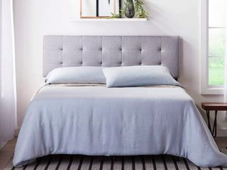 lucid Square Tufted Mid Rise Adjustable Height Headboard  King cal King  Stone