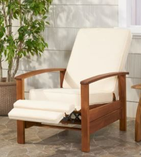 Roslyn Outdoor Acacia Wood Push Back Recliner with Cushion  1 Chair  by Christopher Knight Home Retail  642 49