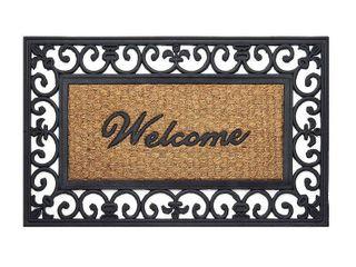 Achim Wrought Iron Rubber Doormat Fleur De lis   Beige Black