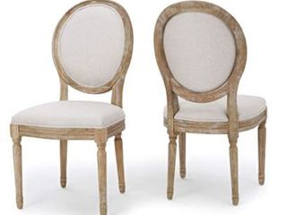 Phinnaeus French Country Fabric Dining Chairs  Set of 2  by Christopher Knight Home  Beige   Natural
