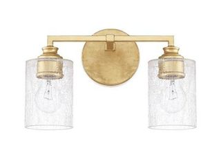 Capital lighting Milan   Two light Bath Vanity  Capital Gold Finish with Iced Glass