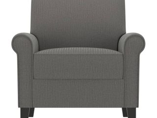 Handy living Jean Smoke Gray Herringbone Upholstered Rolled Arm Chair