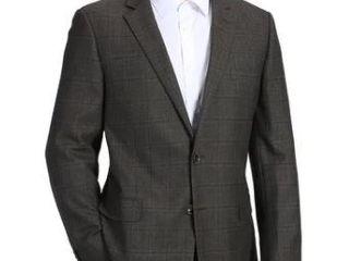Men s Classic Fit Plaid Blazer 100  Wool Sport Coat l40  Retail 155 99