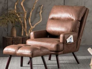 Ovios Velvet Recliner Chair Brown with Ottoman