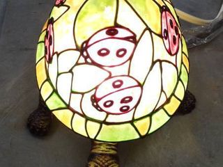 Stained Glass Turtle With ladybugs lamp