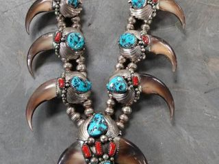 Statement Necklace with Turquoise Stones and Claws