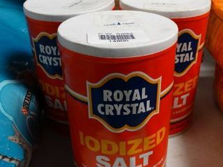 lot of 3 1 lb Container of Royal Crystal Iodized Salt