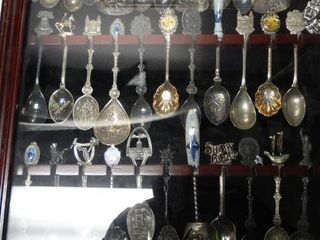 lot of Assorted Collector s Spoons in Display Case