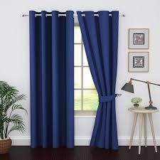 Ample Decor Thermal Insulated Grommet Blackout Curtain Panels Set of 2 royal blue