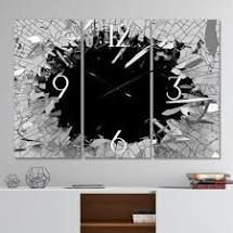 Strick   Bolton  Abstract Broken Wall 3D Design  3 panel Metal Clock   36 in  wide x 28 in  high   3 panels  Retail 139 99