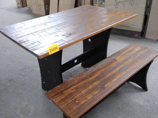 table and bench set of 2 brown and black