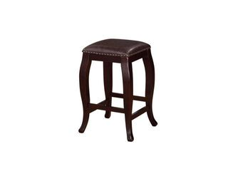 Wooden Counter Stool with Cushioned Seat and Nailhead Trim Edge  Brown  Retail 143 47 1only