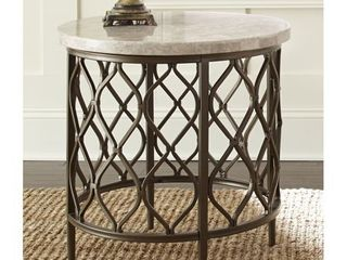 Rockvale Stone Top Round End Table by Greyson living  Retail 204 59