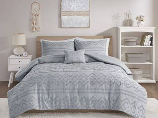 Whitney Solid Clipped Jacquard Comforter Set by Intelligent Design full queen