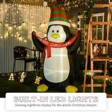 HOMCOM 8  Inflatable Penguin Holding Merry Christmas Banner Holiday Yard Decoration with lED lights Indoor Outdoor Blow Up Decor