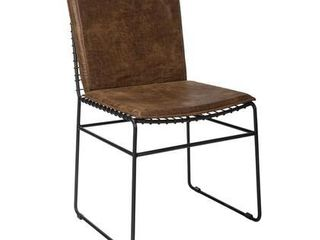 Sherman Collection 192502 18  Dining Side Chair  Set of 2  with Sled Style Chair Design Upholstered in Antique Brown leatherette Contoured Padded