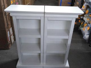 Gracewood Hollow Forbes white side cabinets only set of 2 corners chipped