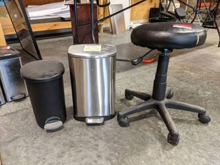 Rolling Stool And Two Trashcans