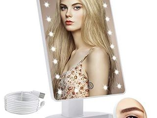 COSMIRROR lighted Makeup Vanity Mirror with 10X Magnifying Mirror  21 lED lighted Mirror with Touch Sensor Dimming  180Adjustable Rotation  Dual Power Supply  Portable Cosmetic Mirror  White