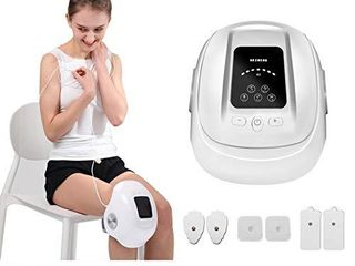 HEZHENG Cordless Compression Knee Massager with Heat and Kneading  Knee Brace Wrap with Air Bags Vibration Circulation Device with Pulse Pads for Pain Relief Therapy