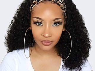 Headband Wigs Human Hair for Black Women  Curly Headband Wig Glueless None lace Front Wigs 9A Brizilian Virgin Hair Machine Made Headband Human Hair Wig