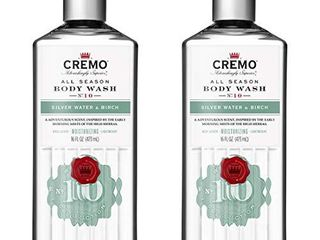 Cremo Rich lathering Silver Water   Birch Body Wash  A Revitalizing Combination of Glacier Fed Streams and White Birch  16 Oz  Pack of 2