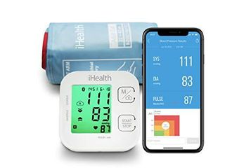 iHealth Track Wireless Upper Arm Blood Pressure Monitor with Wide range Cuff that fits Standard to large Adult Arms   Bluetooth Compatible for Apple   Android Devices