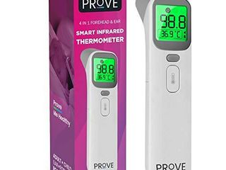 Prove Multifunction Infrared Thermometer   4 in 1 Infrared Thermometer for Kids and Adults   Adult Forehead Mode  Child Forehead Mode  Ear Mode  and Object Room Mode   Color Changing Fever Indicator