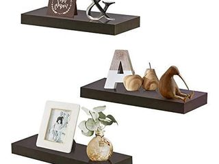 ZGZD Wall Mounted Floating Shelves Display ledge Shelf  Perfect for Bedroom  Bathroom  living Room and Kitchen Storage  Set of 3  5 9  Deep  Espresso Brown