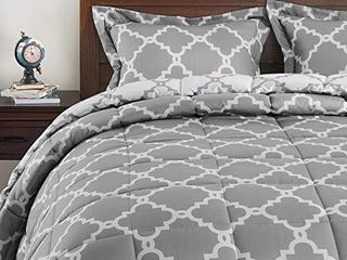 Basic Beyond Down Alternative Comforter Set  Queen  Grey    Reversible Bed Comforter with 2 Pillows Shams for All Season