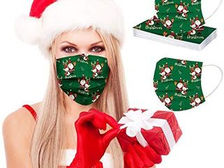 50PCS Christmas Face Cover Mask 3D Printed Christmas Face Covering