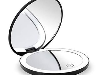 Travel lighted lED Makeup Mirror 7X 1X Magnification Compact Vanity Mirror with lights  USB Rechargeable lighted Handheld Mirror Dimmable Cosmetic Mirror with Touch Screen Switch USB Charge  Black