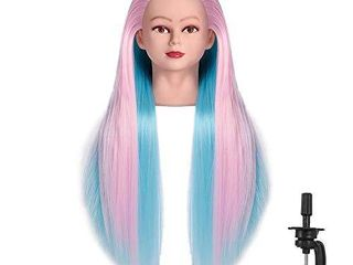 FABA Mannequin Head Synthetic Fiber Hair 26 28 inch long Hair Styling Training Head Cosmetology Doll Head Hairdressing for Cutting Braiding Practice with Free Clamp  colorful2