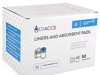 Bedside Commode liners with Absorbent Pad Disposable 50 Pack   for Elderly  Sick Patients  Nurses   for Potty Chair liners  Portable Toilet Bags  Buckets  Pails  Bedpans   leak Proof  Biodegradable