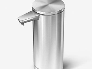 simplehuman 9 oz  Touch Free Rechargeable Sensor liquid Soap Pump Dispenser  Brushed Stainless Steel