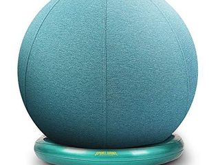 SportShiny Pro Balance Ball Chair Exercise Stability Yoga Ball with Cozy Slipcover Stability Ring Air Pump for Office Home Desk Improve Balance Core Strength Posture Relieve Back Pain 65cm  Aqua
