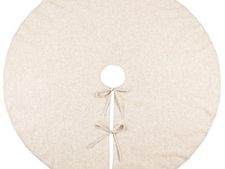 SARO lIFESTYlE Natural linen Blend Christmas Tree Skirt  56