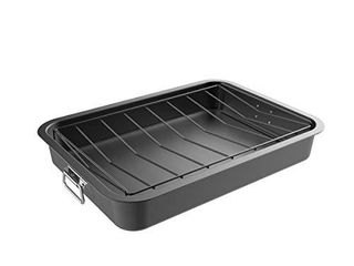 Classic Cuisine Roasting Pan with Angled Rack Nonstick Oven Roaster and Removable Tray Drain Fat and Grease for Healthier Cooking Kitchen Cookware