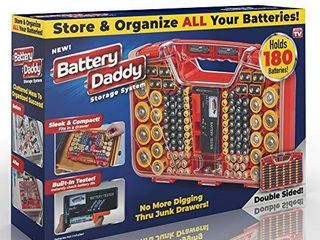 Ontel Battery Daddy 180 Battery Organizer and Storage Case with Tester  1 Count