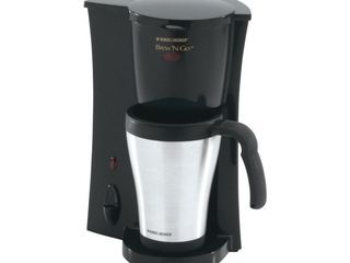 BlACK DECKER Brew IJn Go Personal Coffeemaker with Travel Mug  Black Stainless Steel  DCM18S