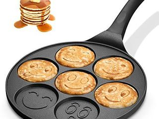 KUTIME Pancake Pan Emoji Smiley Pancake Griddle Flip Cooker Pancake Maker with 7 Flapjack Faces Waffle Maker Non stick Breakfast Pan for Pancake  Fried Egg