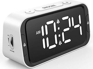 Easy to Set  Small lED Digital Alarm Clock for Bedroom  Simple Bedside Alarm Clock with 65 90dB Adjustable loud Volume  0 100  Full Range Brightness Dimmer  Dual Alarm  USB Charger  Battery Backup