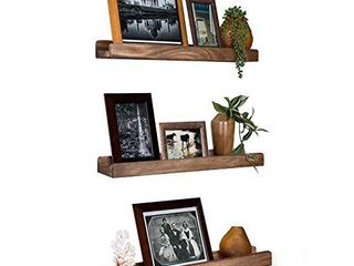 Emfogo Wall Shelves with ledge 16 9 inch Wood Picture Shelf Rustic Floating Shelves Set of 3 for Storage and Display Carbonized Black