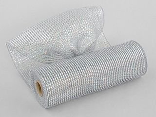 10  Poly Mesh Rolls Deluxe Wide Platinum Silver Foil Solid 10 Inches Wide by 10 Yards long Poly Mesh Makes Creating Bows  Wreaths  Garland Gift Wrap Easy