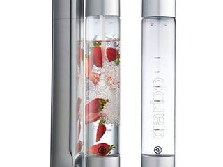Twenty39 Qarbo Sparkling Water Maker and Fruit Infuser   Premium Carbonation Machine with Two 1l BPA Free Bottles   Infuses Flavor while Carbonating Beverages  Use Standard Gas Cylinder  not included  Chrome