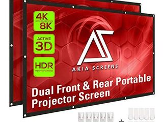 Akia Screens 120 inch Indoor Outdoor Collapsible Portable Projector Screen 16 9 Anti Crease Foldable Dual Front Rear 8K 4K Ultra HD 3D Ready Movie and Home Theater AK DIYOUTDOOR120H1