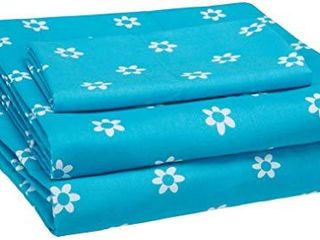 Amazon Basics Kid s Sheet Set   Soft  Easy Wash lightweight Microfiber   Twin  Blue Flowers