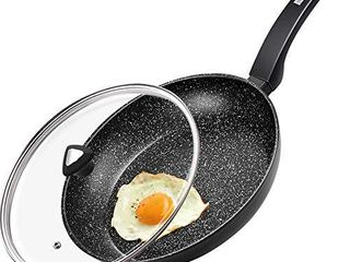 CSK 10  Black Nonstick Frying Pan With lid  Small Skillet With PFOA  PTFE No Toxic Coating  Ultimate Nonstick  For All Stoves  Safe Handle  Ideal For Single Family